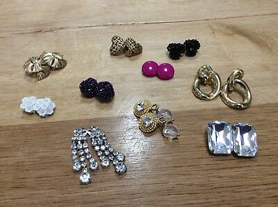 Job Lot 10 Pairs Of 50's/60's/70's Vintage Clip-on Earrings