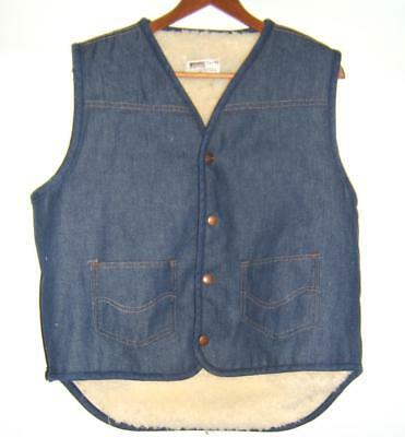 Vintage Montgomery Ward Sherpa Lined Jean Vest Snap-Buttons Size Large