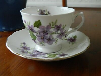 Pretty Royal Vale 'violets' Cups And Saucer  Pattern No. 8141