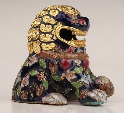 Chinese Rare Old Cloisonne Lion Collectibles Gift Statue