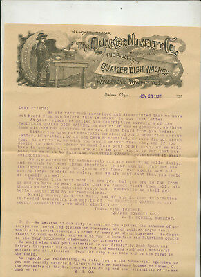 1895 Informational Promotional Packet From Quaker Novelty Co Salem Ohio