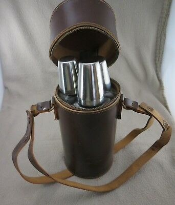 3 Bottle Leather Cased  Spirit Travel Set with 4 Stirrup Cups