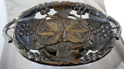 Black Forest Vintage 1920s (?) Carved Musical Fruit Bowl Thorens Swiss Movement