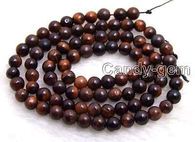 """SALE small 4mm Red Round natural tiger's-eye gemstone Beads strand-15"""" -los702"""