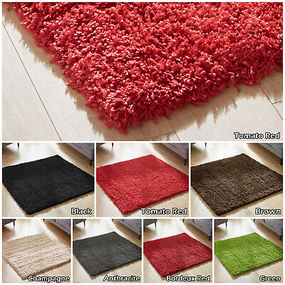 SMALL X EXTRA LARGE MODERN 5cm PILE PLAIN SHAGGY CIRCLE ROUND RUNNER SQUARE RUGS