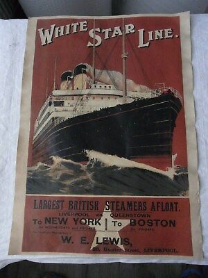 Altes Werbeplakat, Litfaßsäule White Star Line Liverpool - New York