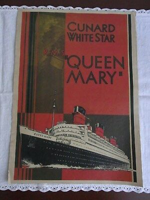 Altes Werbeplakat, Litfaßsäule Cunard White Star Queen Mary RMS