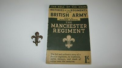 old roll of drum british army manchester regiment book & cap badge 1950s