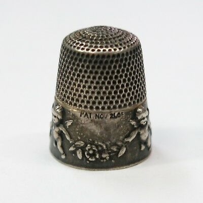 Antique Cherub Motif Sterling Silver Sewing Thimble