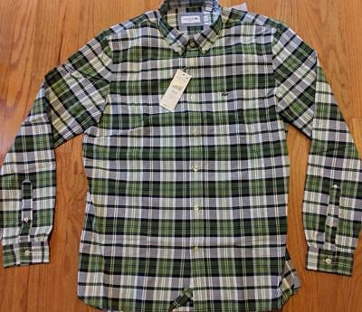 af2091354c MENS LACOSTE LS Checked Button Up Woven Shirt Green/Navy Blue 38 Small $90