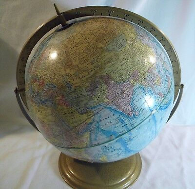 """Vintage Cram's EARTH PROFILE 12"""" Diameter World Globe with Metal Stand"""