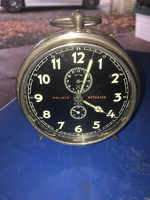 Rare Vintage Goliath Repeater Alarm Clock Black Face Luminous Working Art Deco