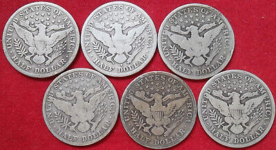 """Six (6) different """"S"""" mint Barber half dollars, 1903-S to 1912-S, circulated"""
