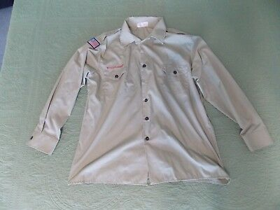 BSA Boy Scouts of America Official Shirt Mens XL Large tan long sleeve