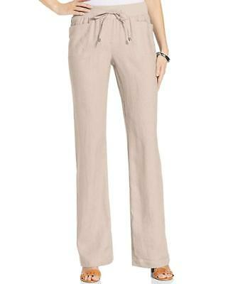 2badc83103 STYLE & CO Flax Beige 100% Linen Relaxed Wide Leg Drawstring Pants NWT 12