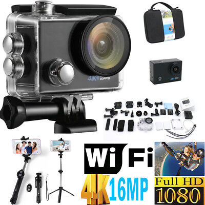 4K Sports Camera HD Action Camera Waterproof WIFI DV 16MP Camcorder Selfie Stick