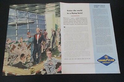 """1945 original ad Goodyear Aircraft People Enjoy Airship a """"Flying Hotel"""" 2 pages"""