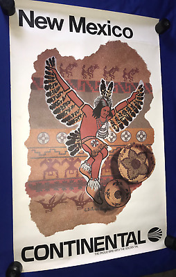 vintage ORIG.1960's Continental Airlines New Mexico TRAVEL POSTER ART 25x40in