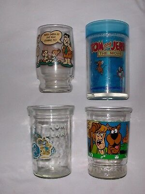 Lot of 4 Character Glasses - 2 Tom/Jerry, Flintstones & Scooby-Doo! - L@@K