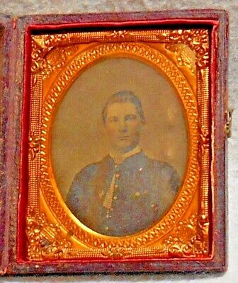 Civil War Relic ninth Ambrotype Plate, Union Soldier with a 6th Corps badge