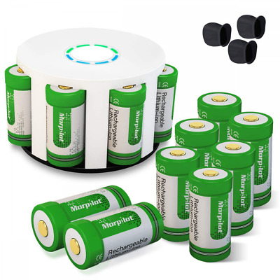 12Pcs RCR123A Rechargeable Batteries 8-Ports Charger for Arlo Security Cameras