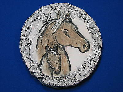 Horse Pair Pony Art sculpture tile Wall Hanging Brown Mare Original Pottery Clay