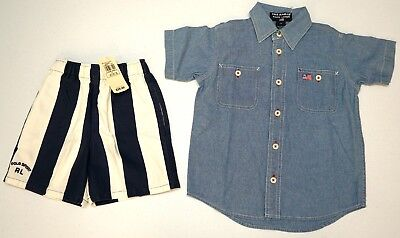 NWT LOT OF 2 SHORTS SHIRT Polo Ralph Lauren Boys Size 2T Navy Blue Striped NEW