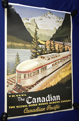 vintage ORIG.70's Canadian Pacific Railroad POSTER ART Deco 24x36in R Couillard