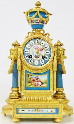 Antique French 8 Day Gilt Metal & 6 Blue Sevres Porcelain Panelled Mantle Clock