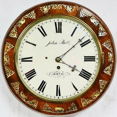 Antique English Rosewood & Mother Of Pearl 8 Day Single Fusee Dial Wall Clock