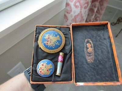 Parisian 3 piece boxed compact set, jeweled, hand painted