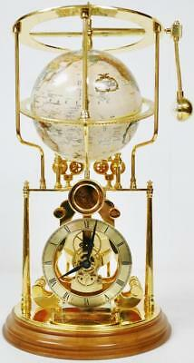 Rare Automaton Gold Plt Smithsonian Cosmochronotrope World Globe Skeleton Clock