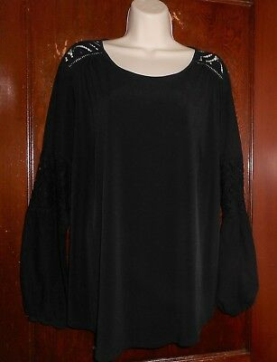 945392de277 Roz   Ali Lovely Black Lace Accented Satiny Tunic Blouse Womens Plus 2X