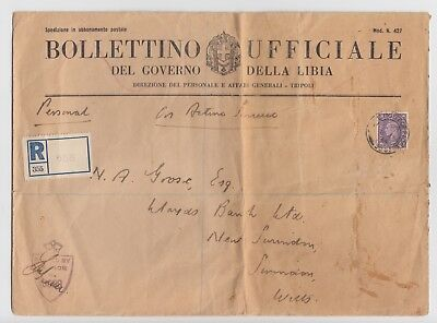WW2 Libya Govenment Official Cover Registered British Army Censored 1944 APO 656
