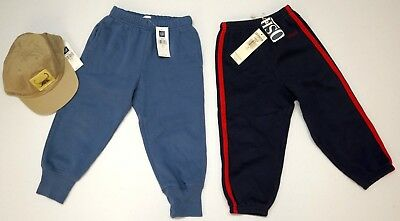 NWT LOT OF 3 PANTS & HAT Baby Gap & Oshkosh Blue Navy Tan Boys Sz 2XL (2yrs) NEW