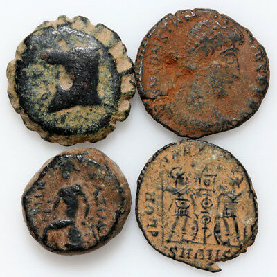 Lot Of 4 Ancient Greek And Roman Bronze Coins