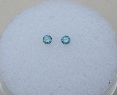 Blue Diamond Loose Faceted Round Natural Pair 2mm