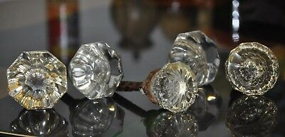 Glass Crystal Cut Antique Vintage Door Knobs 1 Pair + 3 Assorted ~LOT of 5~