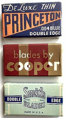 Vintage Lot Of 3 Different Double Edge Safety Razor Blades Packs ~ New Condition
