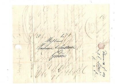 1819 Stampless Folded Letter, Florence Italy To Switzerland,