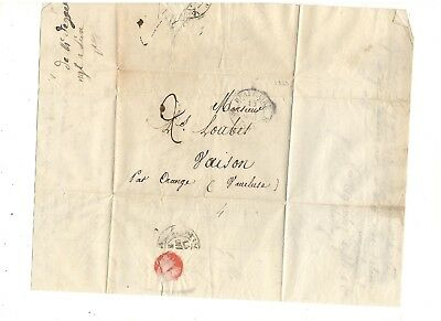 1833 Stampless Folded Letter, Cds, Beaucaire France, Ref: Invoice
