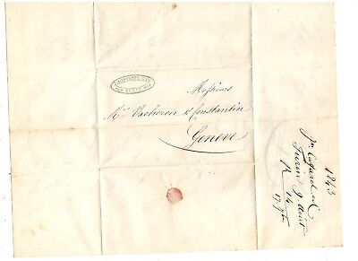 1843 Stampless Folded Letter, Turin Italy To Switzerland,