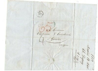 1852 Stampless Folded Letter, Modena Italy To Switzerland, Blue Pm