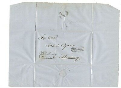 1862 Stampless Folded Letter, Durango To Monterey, Boxed Pm