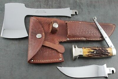 Case Tested Xx, Genuine Stag Knife/axe Combo, Pat.oct.22.1935 *lightly Used* Nr!