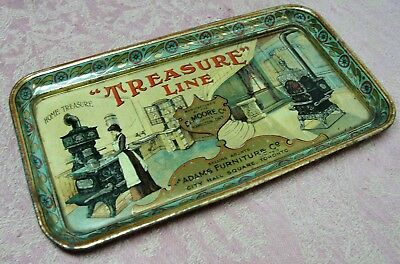 Antique Tin Tip Tray Advertising Treasure Line Parlor & Kitchen Coal Wood Stove