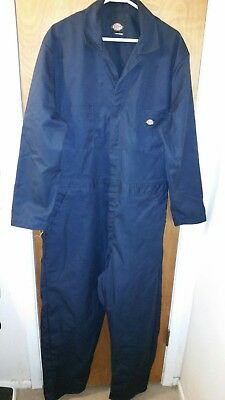 Men's Dickies work coveralls, Dark blue long sleeve cotton. Size XL 48 chest