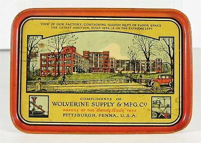 1920s WOLVERINE TOY COMPANY TIN LITHOGRAPH ADVERTISING TIP TRAY CHANGE TRAY