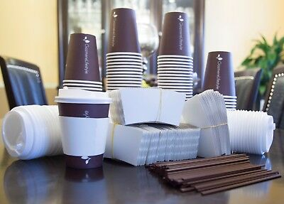 100 12oz Disposable Coffee Cups To Go w/ Travel Lids, Sleeves & Straws