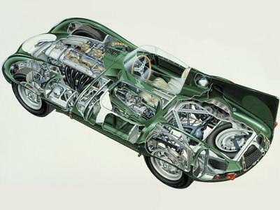 A3 Jaguar E-Type Low-Drag Coupe CutAway Rally Wall Poster Art Picture Print